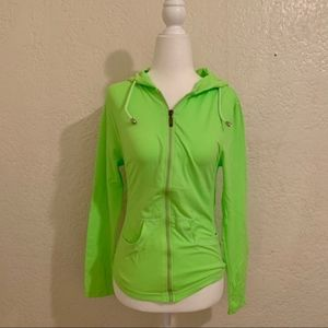 Tops - NWT Neon Green Athletic Zip Up Hoodie Gym Sweater